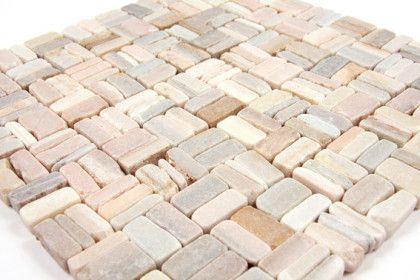 Boden Und Wandfliesen Mosaïques Et Galets Pierre Batons Rose - Rosa mosaik fliesen