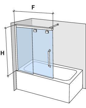 duschabtrennungen largeur 160 badewannenaufsatz 160 cm schiebet ren montage links h he 100. Black Bedroom Furniture Sets. Home Design Ideas