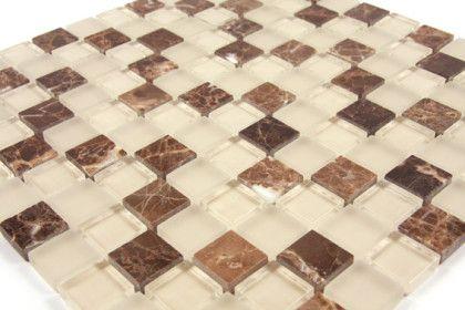 Mosaik Mischung Glasstone Braun, Fliesen 2,5x2,5 Cm