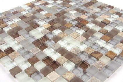 Tuscon 315 Glas Grau/braun Mosaik Mischung, Fliesen 1,5x1,5 Cm