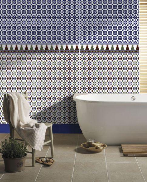 boden und wandfliesen oriental arahal base 14x28 cm orientalische fayence fliesen. Black Bedroom Furniture Sets. Home Design Ideas