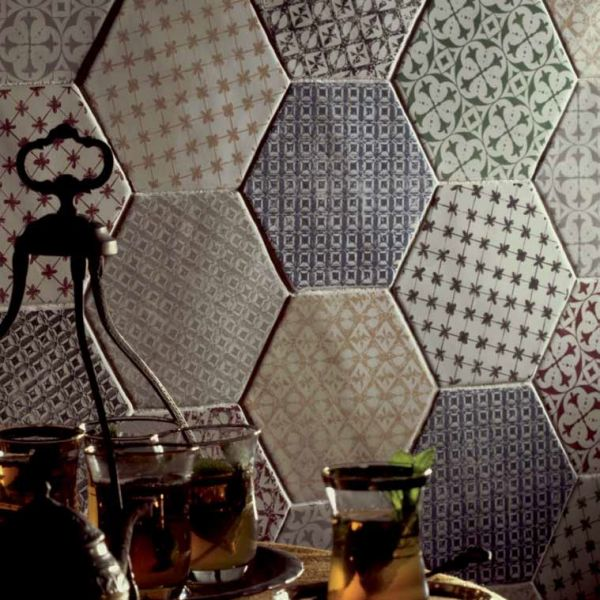 boden und wandfliesen cuisine mural hexagon marrakech gris mosaico 15x15 cm sechseckigen. Black Bedroom Furniture Sets. Home Design Ideas