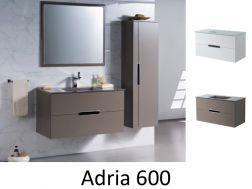 Schrank Badezimmer, Suspendiert, 60 Cm, Weiß Oder Taupe Brilliant   ADRIA  600