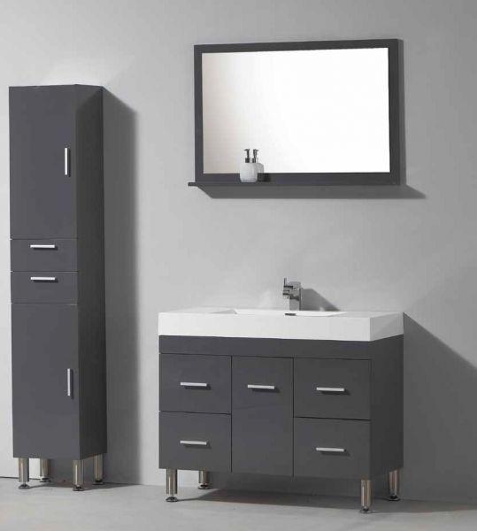 Badm bel waschbecken handwaschbecken meuble teck for Badmobel hellgrau