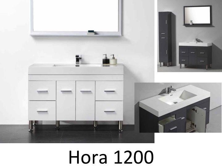 Schrank badezimmer zu fu mit einem becken von 120 cm wei oder grau lackiert hora 1200 - Badezimmer becken ...