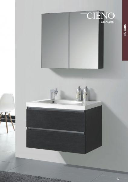 Badezimmermobel Suspendierte 80 Cm Spiegelschrank Grau Holzeffekt
