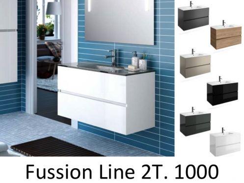 Badm bel waschbecken handwaschbecken meuble sdb badm bel 100 cm fussion line 1000 2t - Badmobel 100 cm ...