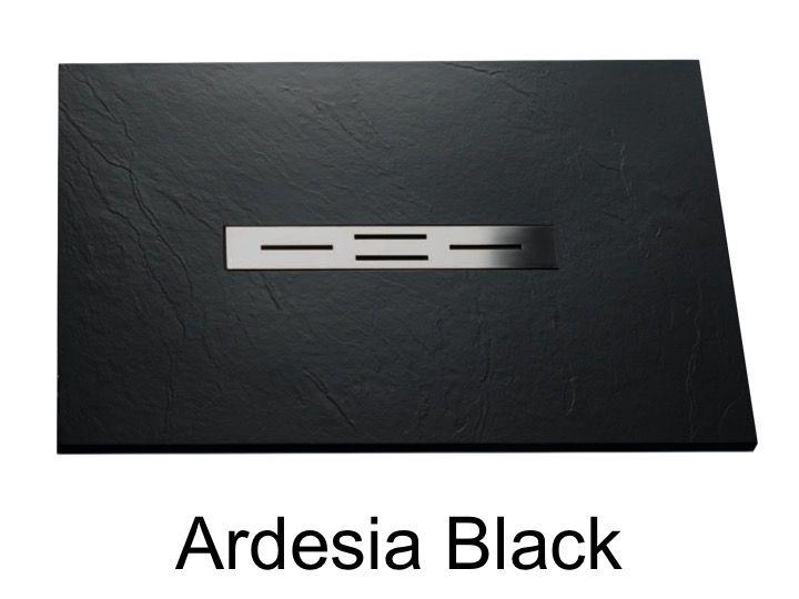 duschwanne longueur 150 duschwanne 150 cm ultraflach geringe gr e s ardesia farbe schwarz. Black Bedroom Furniture Sets. Home Design Ideas