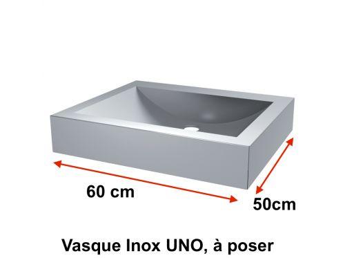 waschbecken inox edelstahlsp le uno auf dem tisch platziert 600 x 500 mm delabie. Black Bedroom Furniture Sets. Home Design Ideas