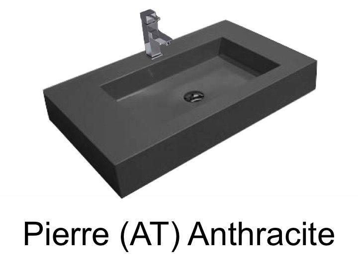 waschbecken largeur 80 waschbecken breite 80x46 cm resin anthrazit stein. Black Bedroom Furniture Sets. Home Design Ideas