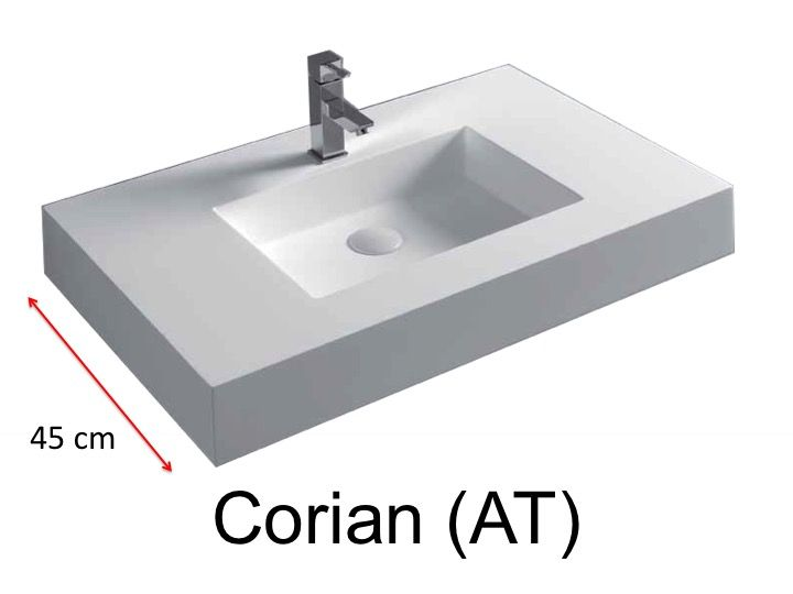 waschbecken largeur 70 waschbecken corian 70 x 45 cm resin solid surface wei. Black Bedroom Furniture Sets. Home Design Ideas