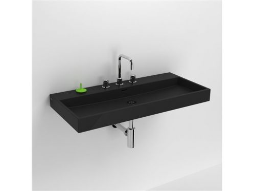 waschbecken lavabo et vasque keramik waschbecken 90 cm washme schwarz matt. Black Bedroom Furniture Sets. Home Design Ideas