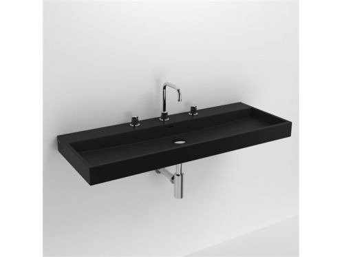 waschbecken lavabo et vasque keramik waschbecken 110 cm washme schwarz matt. Black Bedroom Furniture Sets. Home Design Ideas