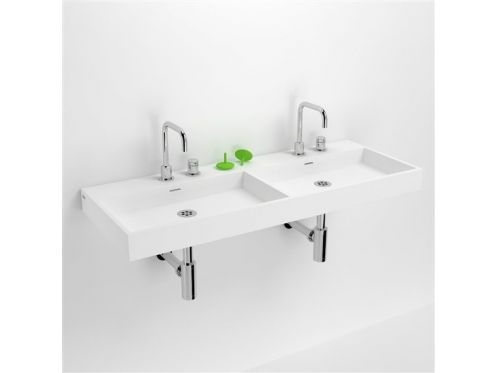 waschbecken corian type zwei waschbecken 110 cm washme harz wei en mineral. Black Bedroom Furniture Sets. Home Design Ideas