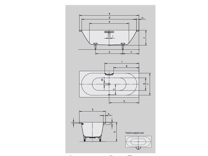 Neu Badewannen Longueur 160 - Badewanne 160 x 70 cm, Stahl-Email  XS05