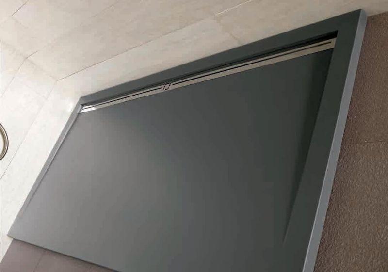 duschwanne 190 cm in harz seitliche rinne stil extra flach wei - Flache Dusche Siphon Reinigen
