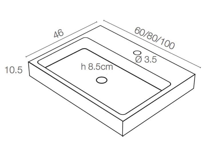 waschbecken largeur 60 waschbecken 60 cm breit 46 cm tief harz titan grau. Black Bedroom Furniture Sets. Home Design Ideas