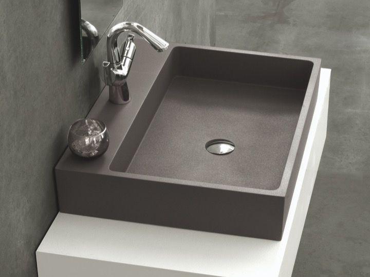 waschbecken largeur 80 waschbecken 80 cm breit 46 cm tief harz titan anthrazit. Black Bedroom Furniture Sets. Home Design Ideas