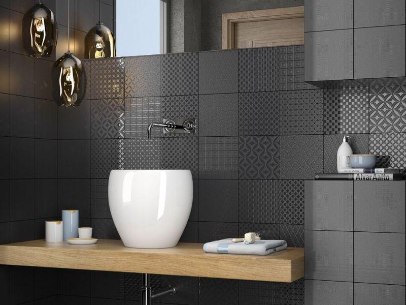 Boden Und Wandfliesen Aspect Cx Ciment Black White Schwarz - Fliesen 20 x 80