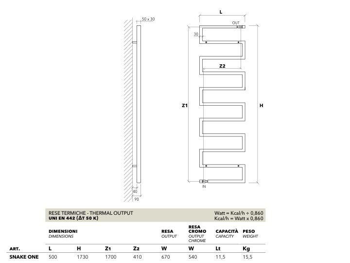 Heizkörper, beheizter Handtuchhalter 700 watt - Designer Warmwasser ...