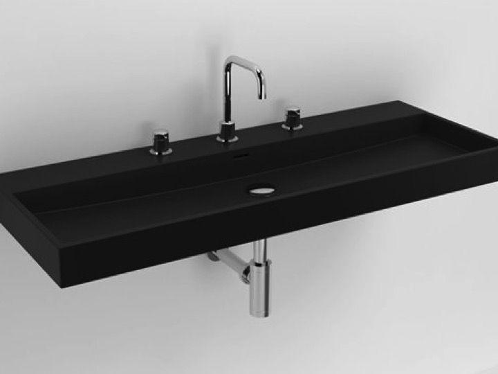 waschbecken lavabo et vasque designer waschbecken 110 x 42 cm mattschwarze keramik clou wash me. Black Bedroom Furniture Sets. Home Design Ideas
