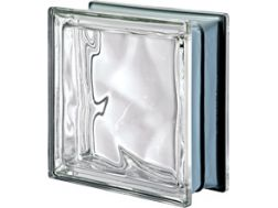 Glasblock, transparenter Block - metallisch gewellt - NEUTRO Q19 O MET Pegasus 20 x 20