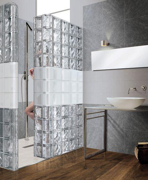 Gebogener Eckglasstein, transparenter Pflasterstein - glatt ...