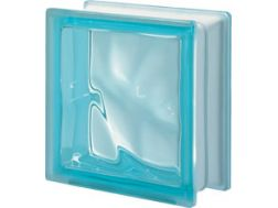 Glasblock, transparenter Block - gewellt - ACQUAMARINA Q19 O Pegasus 20 x 20
