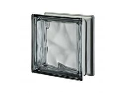 Glasblock, transparenter Block - metallisch gewellt - NORDICA Q19 O MET Pegasus 20 x 20