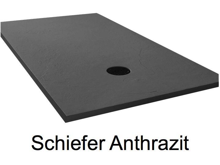 Duschwanne Longueur 130 - Duschwanne 130 cm, ultraflach, Schiefer ... | {Waschtischplatte schiefer 56}