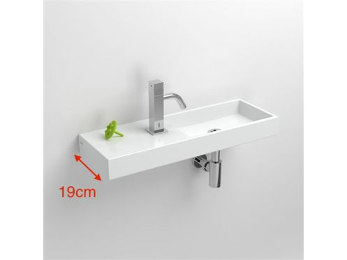 Washbasin, 19 x 56 cm, white ceramic, tap on the left - MiniWashMe CLOU