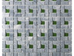 CUB301, Mosaic stone __plus__ gray glass and green center, Acqualine.