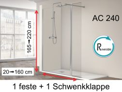 Shower wall 80 __plus__ 35 x 195 cm, fixed glass with pivoting shutter - AC240.