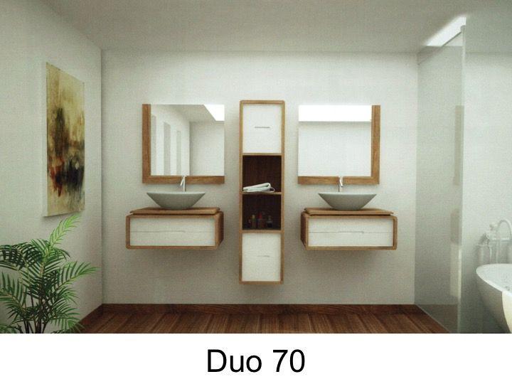 Doppel-Badezimmer Designer-Bad in Teak, 70 cm - DUO 70