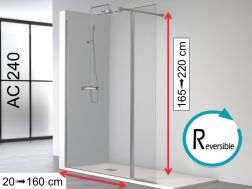 Shower wall 100 __plus__ 35 x 195 cm, fixed glass with pivoting shutter - AC240.