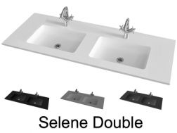 Double wash basin top, 141 x 46 cm, suspended or recessed - SELENE DOUBLE