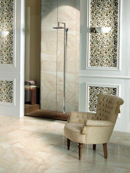 Nimes, Marmormosaik Kieselform, Mosaik Braun/beige/weiß.