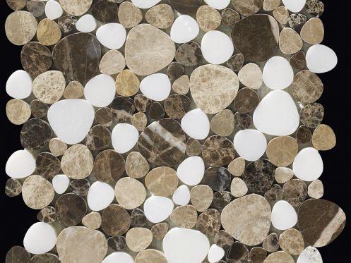 Nimes, Marmormosaik Kieselform, Mosaik Braun/beige/weiß. Boxer