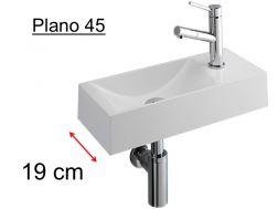 Händewaschen , Schmale Design Waschbecken In Weißem Mineralharz, Tiefe 19  Cm, Passend Rechts