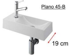 Lovely Händewaschen , Schmale Design Waschbecken In Weißem Mineralharz, Tiefe 19  Cm, Tippt Links