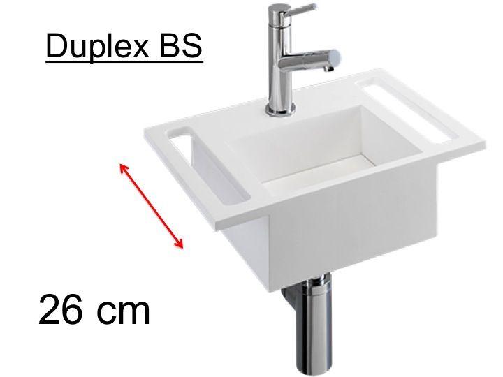 badm bel waschbecken handwaschbecken lave mains waschtisch mit beiderseitigen 26 cm matt. Black Bedroom Furniture Sets. Home Design Ideas